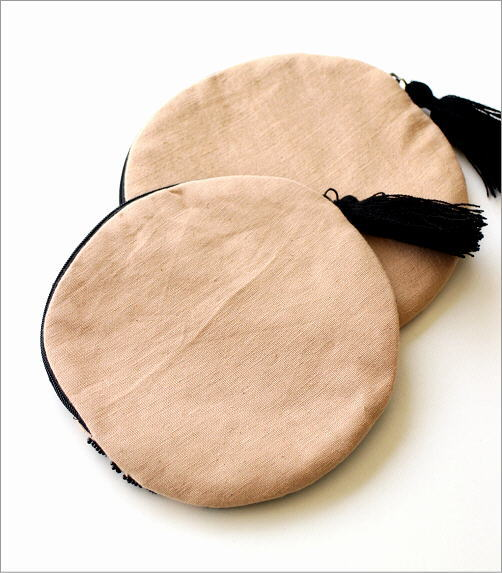 アニマルビーズ刺繍ラウンドポーチ 2タイプ(3)