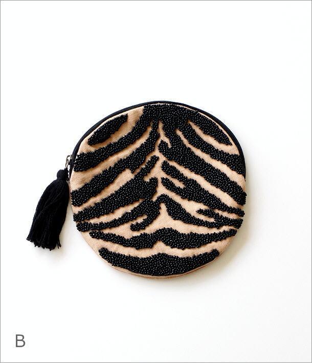 アニマルビーズ刺繍ラウンドポーチ 2タイプ(6)