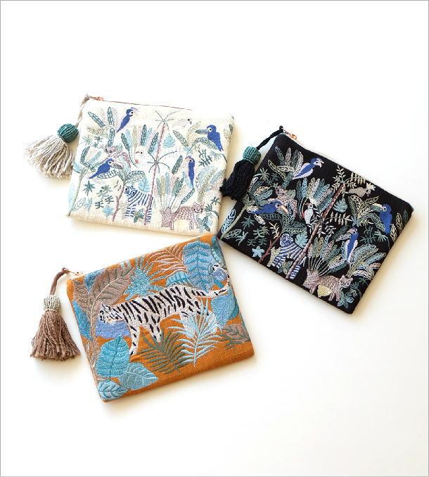 ジャングル刺繍のフラットポーチ 3タイプ(1)