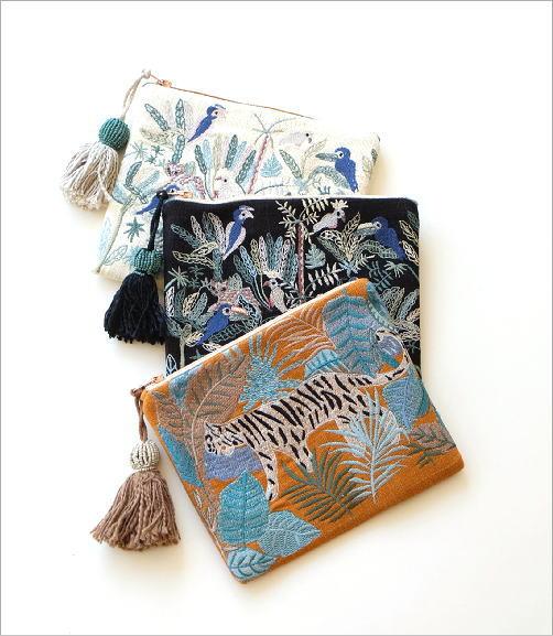 ジャングル刺繍のフラットポーチ 3タイプ(3)