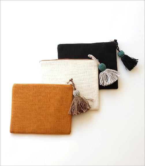 ジャングル刺繍のフラットポーチ 3タイプ(4)