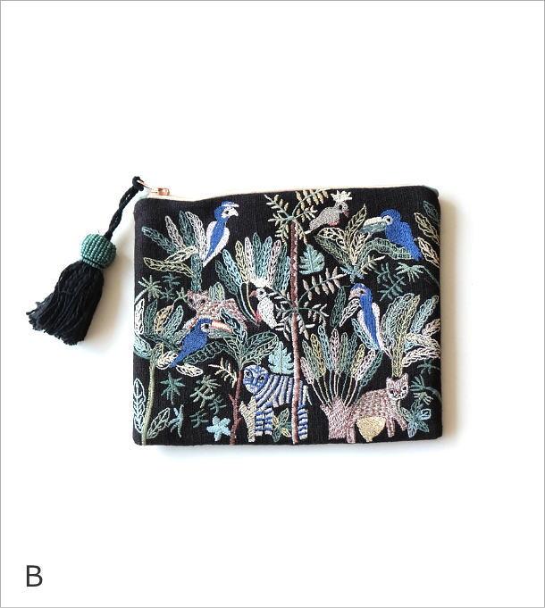 ジャングル刺繍のフラットポーチ 3タイプ(6)