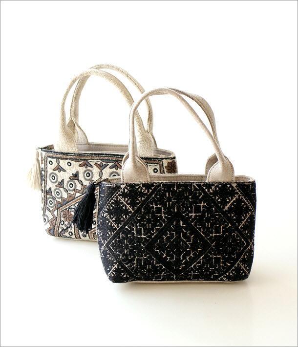 ラグ柄刺繍ファスナー付き手提げバッグ 2タイプ(1)