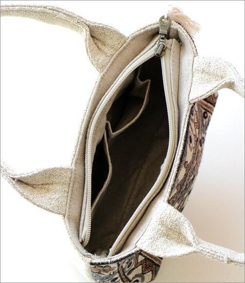 ラグ柄刺繍ファスナー付き手提げバッグ 2タイプ(3)