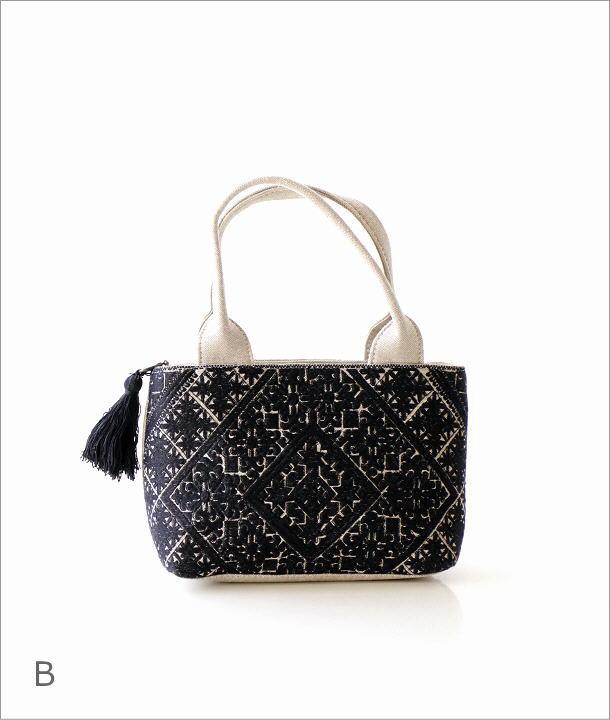 ラグ柄刺繍ファスナー付き手提げバッグ 2タイプ(6)