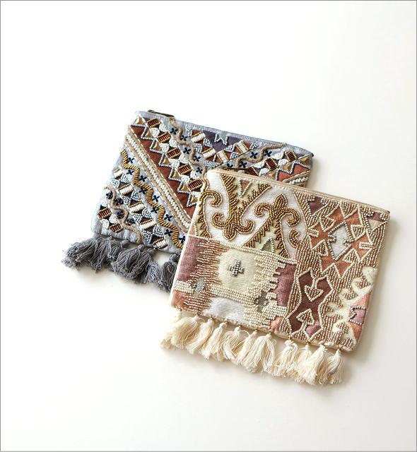 ビーズ刺繍フリンジポーチL 2タイプ(1)