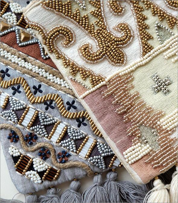 ビーズ刺繍フリンジポーチL 2タイプ(2)