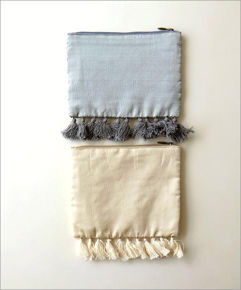 ビーズ刺繍フリンジポーチL 2タイプ(3)