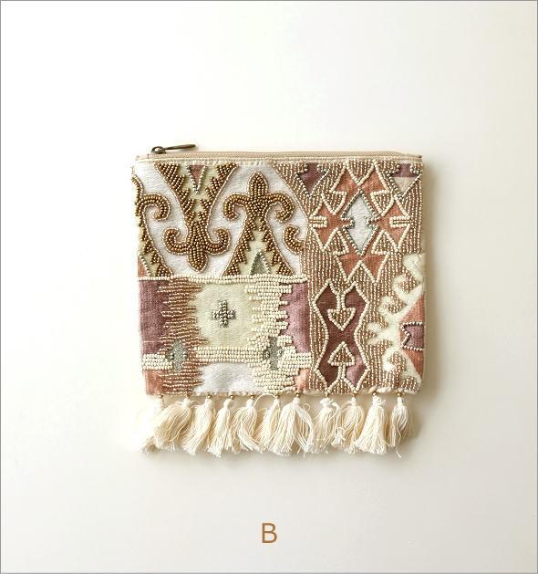 ビーズ刺繍フリンジポーチL 2タイプ(5)
