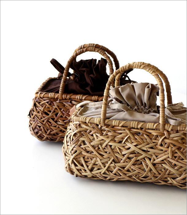 ラタンランダム編み横長バッグ 2カラー(1)