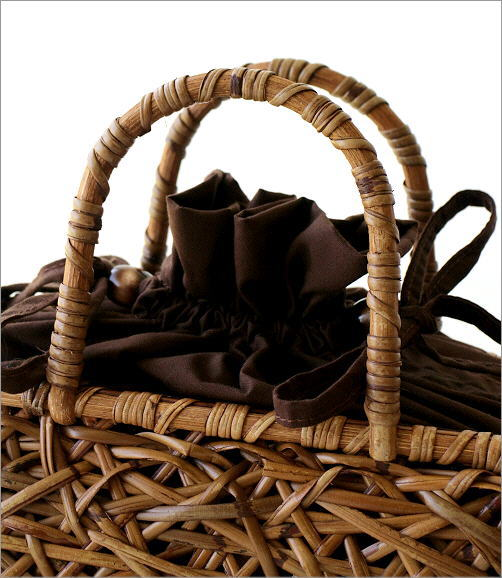 ラタンランダム編み横長バッグ 2カラー(2)