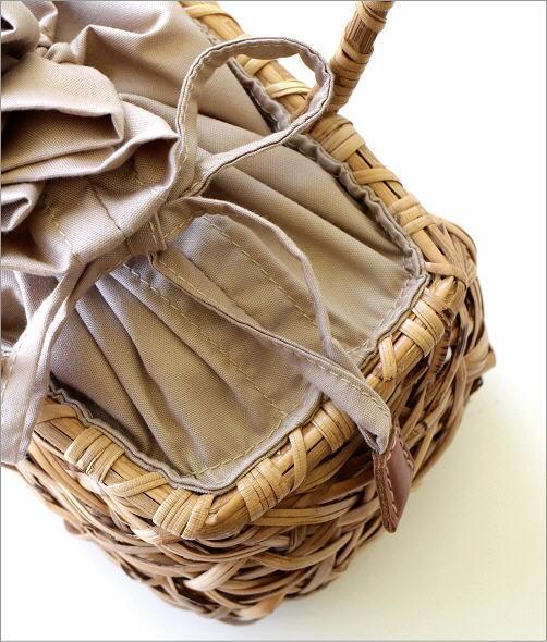 ラタンランダム編み横長バッグ 2カラー(3)