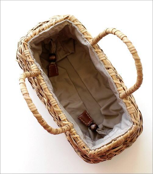 ラタンランダム編み横長バッグ 2カラー(4)