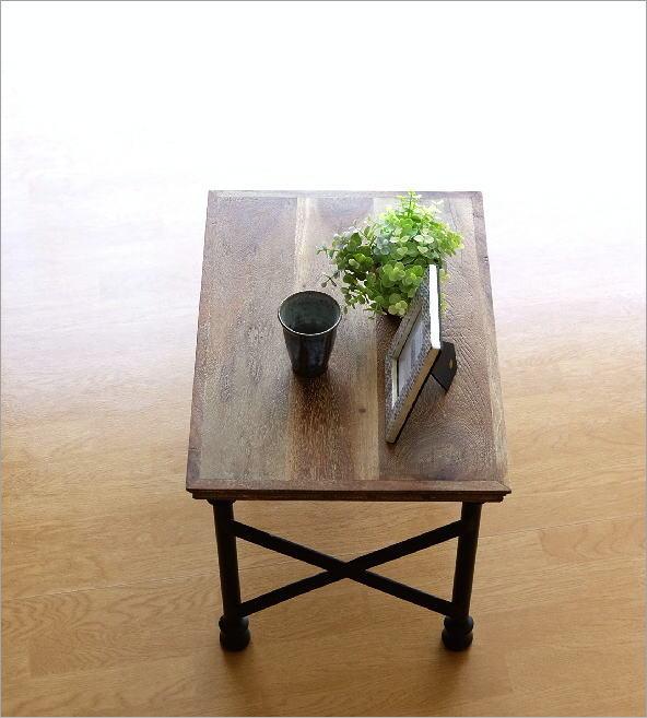 アカシアウッドとアイアンのローテーブルA    (1)