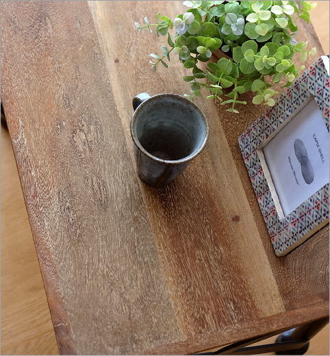 アカシアウッドとアイアンのローテーブルA    (2)