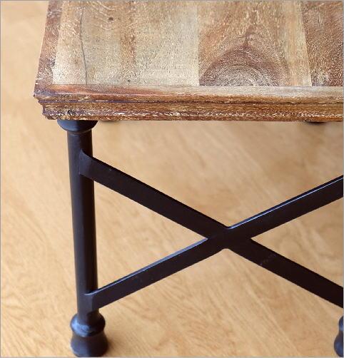 アカシアウッドとアイアンのローテーブルA    (3)