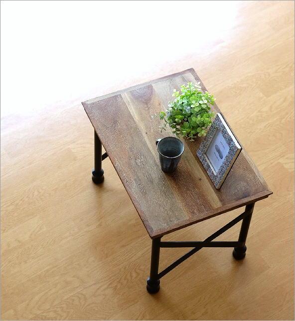 アカシアウッドとアイアンのローテーブルA    (4)