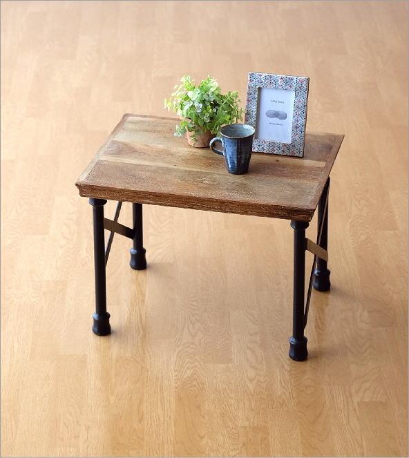 アカシアウッドとアイアンのローテーブルA    (5)