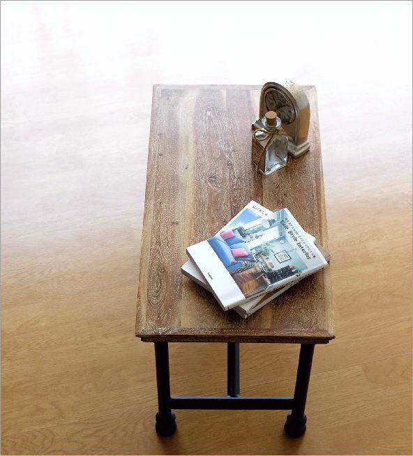 アカシアウッドとアイアンのローテーブルB(1)