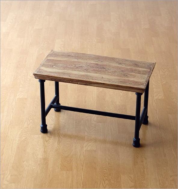 アカシアウッドとアイアンのローテーブルB(4)