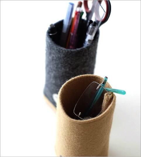 ウールメルトンと木のペン立て 2カラー(2)