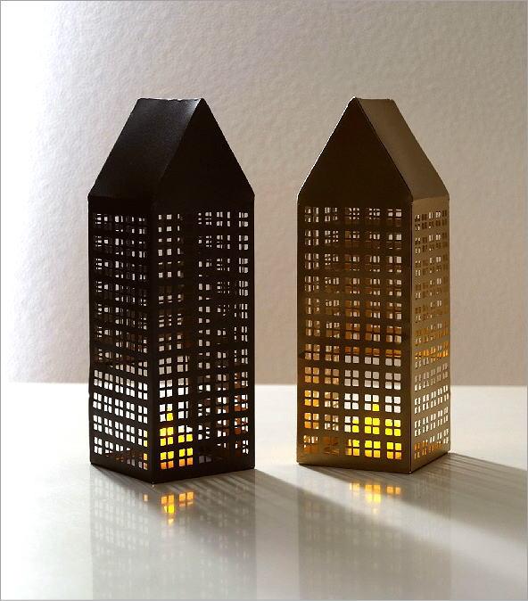 ブリキのLED付きトールハウス 2カラー(1)