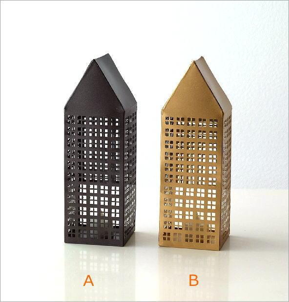 ブリキのLED付きトールハウス 2カラー(3)