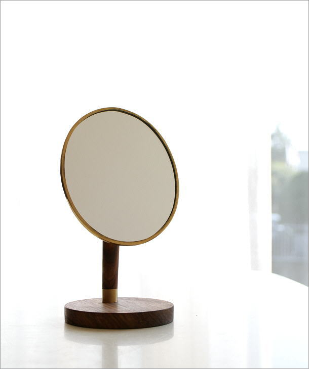 真鍮とウッドのスタンドミラー(1)