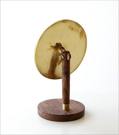 真鍮とウッドのスタンドミラー(3)