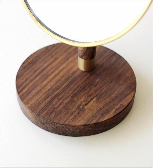 真鍮とウッドのスタンドミラー(4)