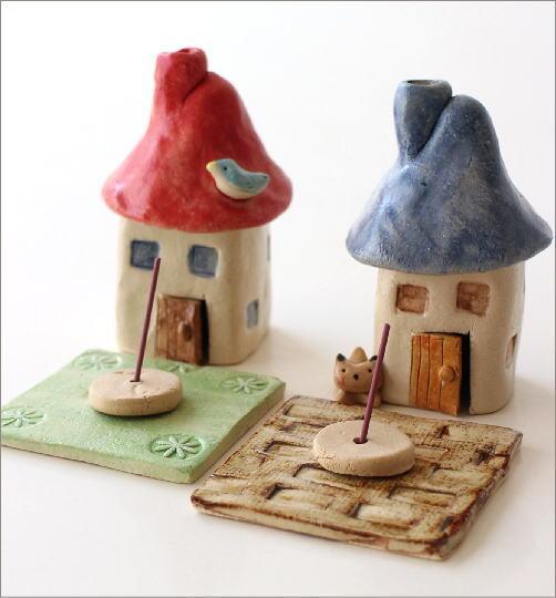陶器の煙突家の香炉 2タイプ(3)