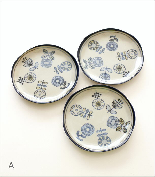 アンティークカラーのデザインプレート3枚セット 4タイプ(4)