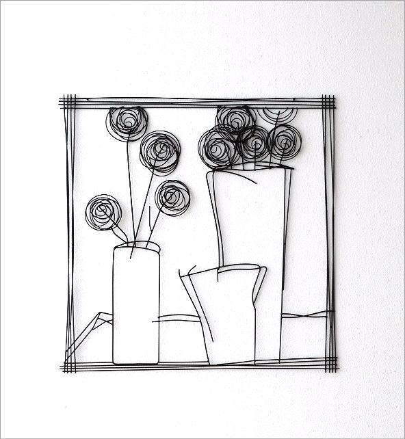 アイアンの壁飾り 花瓶B(4)