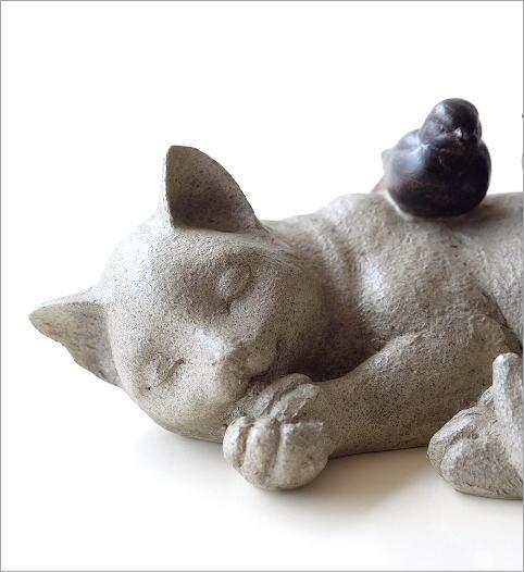 すやすやネコと小鳥の置物(2)