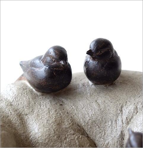 すやすやネコと小鳥の置物(3)