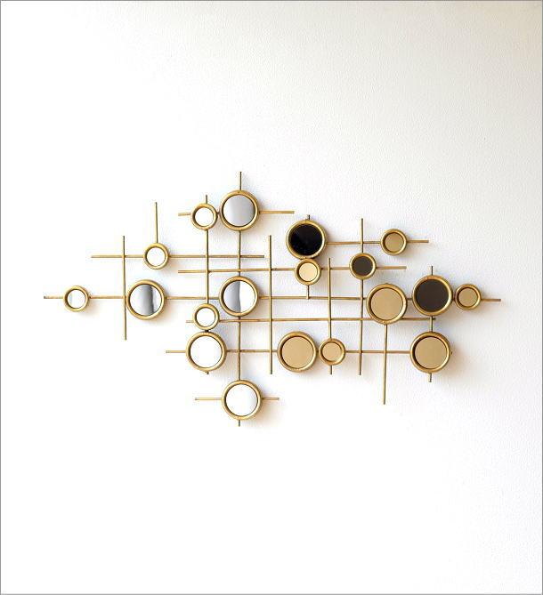 サークルミラーのアンティーク風壁飾り(4)