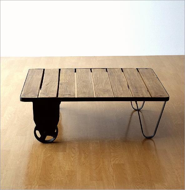 アイアンとウッドのコーヒーテーブル(7)