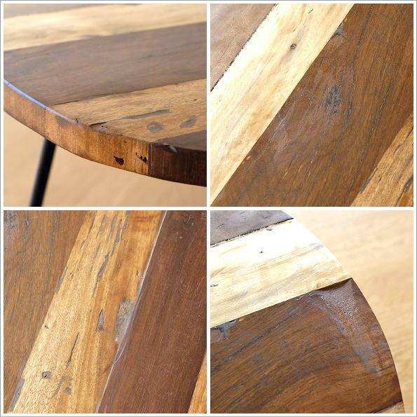 シャビーな寄木のラウンドテーブル(4)