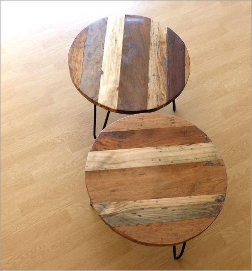 シャビーな寄木のラウンドテーブル(5)