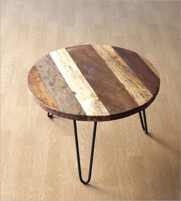 シャビーな寄木のラウンドテーブル(6)