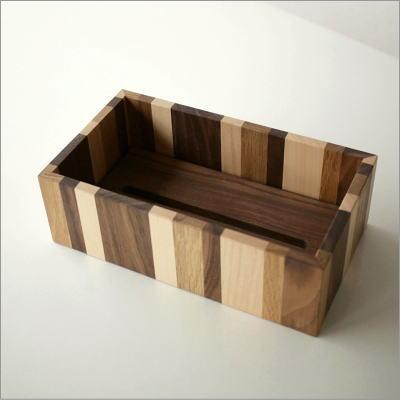 ナチュラルウッドのモザイクティッシュボックス(3)
