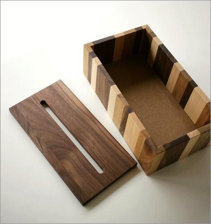 ナチュラルウッドのモザイクティッシュボックス(4)