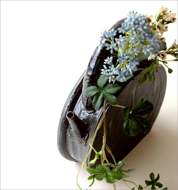 和陶器ベース 黒釉土瓶型