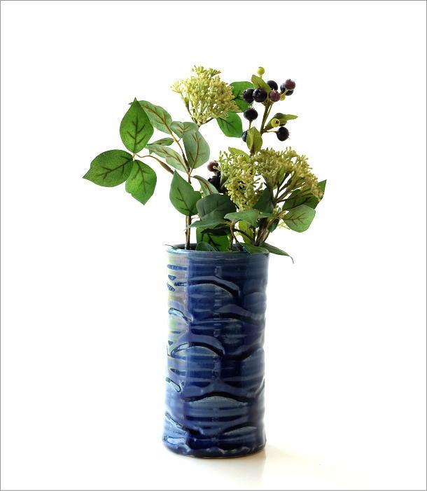 青釉円柱花入れ(4)