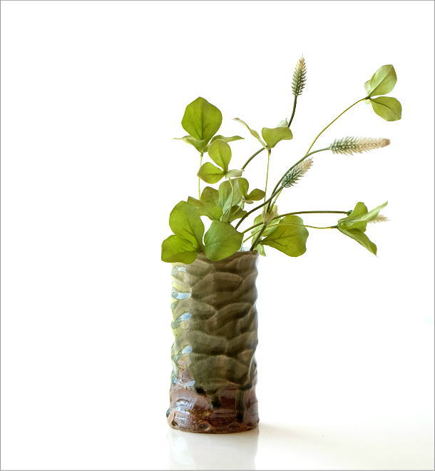 灰釉円柱花入れ(4)