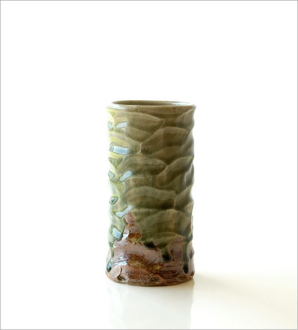 灰釉円柱花入れ(5)