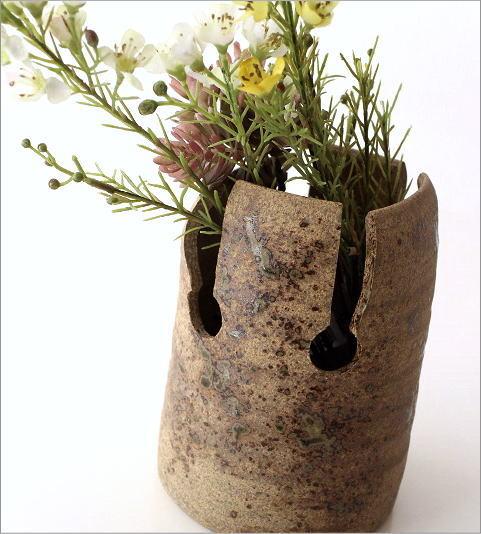和陶器花入 四方切(2)