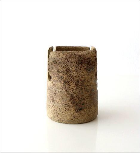 和陶器花入 四方切(4)