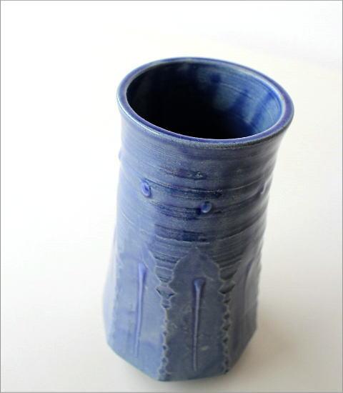 和陶器ベース 青釉削ぎ花入れ(2)