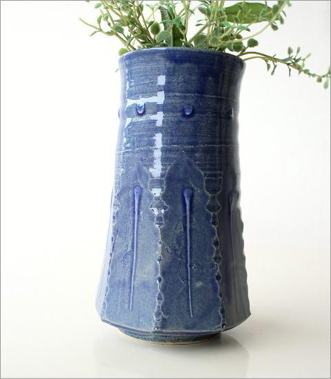 和陶器ベース 青釉削ぎ花入れ(3)